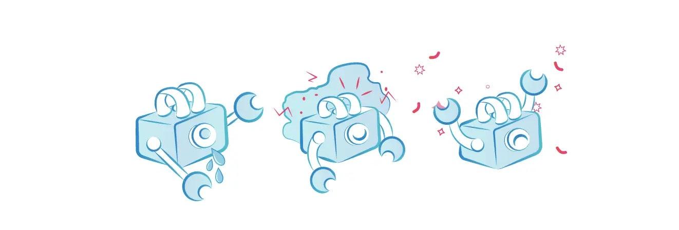image of cartoon robot crying, celebrating and short-circuiting