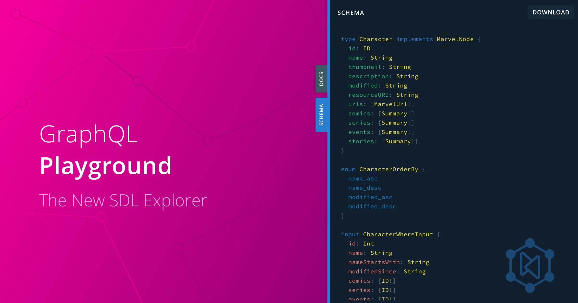 The new SDL view in graphql-playground v1.8.5